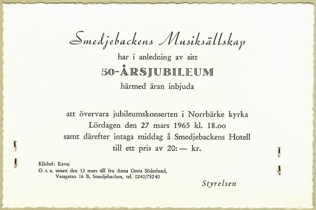 19650327 Smedjebackens Musiksällskap 50 år Biljett autokorr