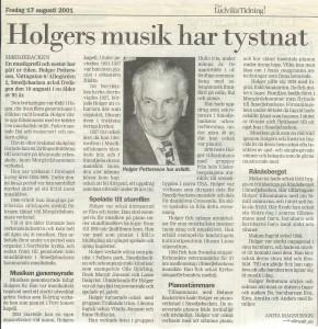 Holgers musik har tystnat 2001