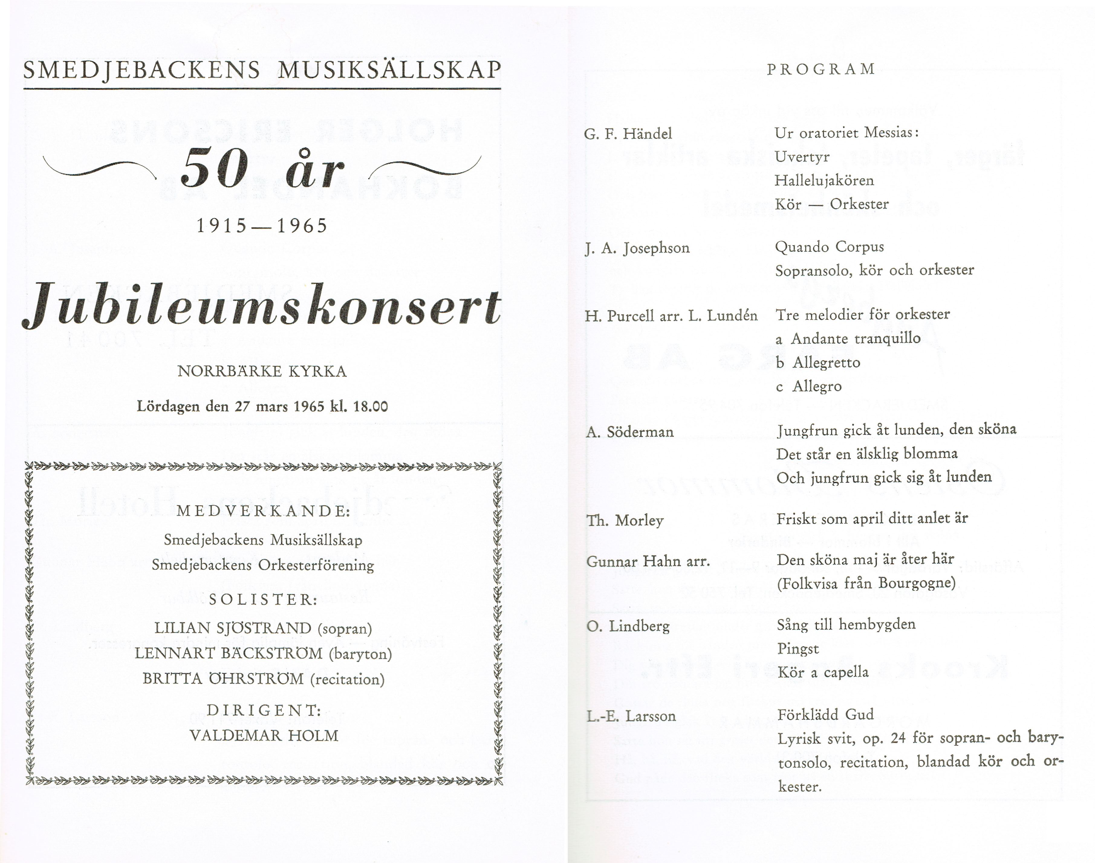 Programblad50årsjubileum1965